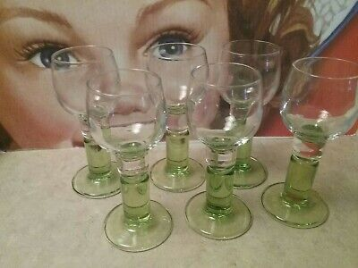 """6 Vintage Lime Green Fat Stem Clear Cup Cordial Shot Glass 4.5"""" Absinthe Glass"""