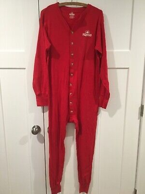 Mens RedHead Red one piece long johns underwear 100% Cotton  Warm Size Large