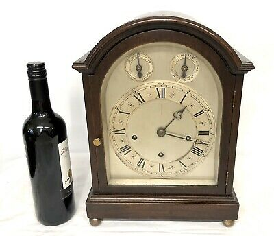Large Antique Oak 3 Train Musical Westminster Chime Bracket Clock Chime Silent