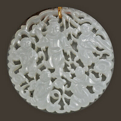 19th/20th C CHINESE WHITE MUTTON FAT JADE 14K GOLD Pendant