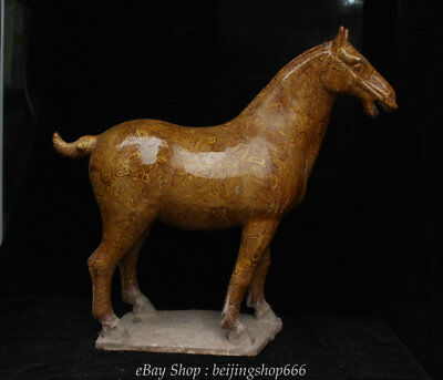 """18"""" Old Chinese Tang Sancai Yellow Glaze Porcelain Dynasty Horse Animal Statue"""