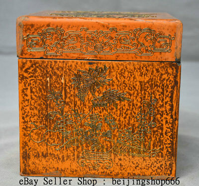 "5"" Old Chinese lacquerware Dynasty Phoenix Birds Flower jewel case Jewelry box"