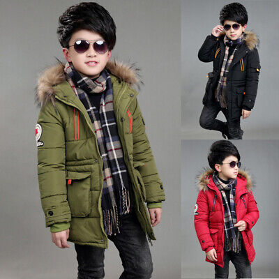 Kids Boys Winter Fur Hooded Warm Quilted Puffer Coat Jacket School Thick Parka