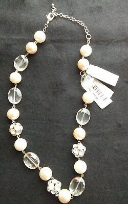 """CHARTER CLUB /""""HIGH GLAM/"""" PEARL AND CRYSTAL  GOLD TONE Necklace"""