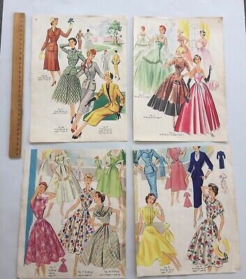 1950's Fashion Sewing Original Images Paper Ephemera Pack 16 Pages Scrapping