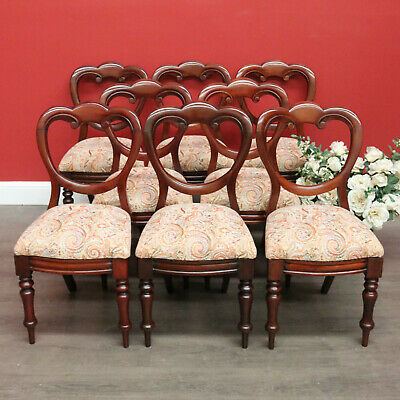 Set of 8 Antique English Mahogany and Fabric Dining Chairs, Kitchen Chairs