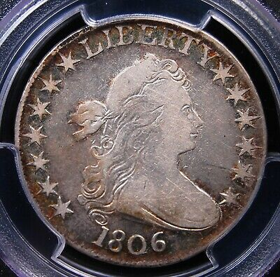 1806 Draped Bust Half Dollar Pcgs F15 Pointed 6 No Stems Bright Centers Rim Tone