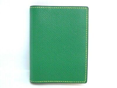Auth HERMES Small Note Agenda Cover Green Leather France $0 Ship 20160324800 P