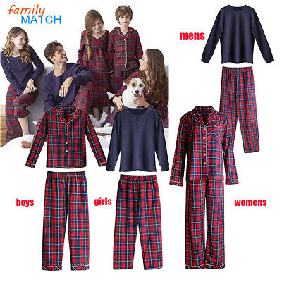 US Women Men Kids Nightwear Sleepwear Family Matching Christmas Pajamas Set New