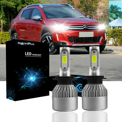For Citroen C3 C4 Pair Bulbs COB H7 LED Bright White 6500K Headlight Dipped Beam