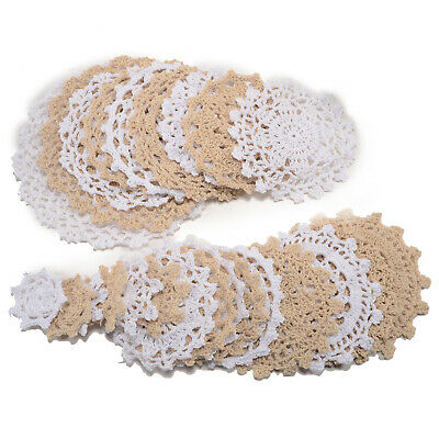 24 Handmade Crochet Doilies Knitted Coaster Lace Table Placemats Flower Coaster