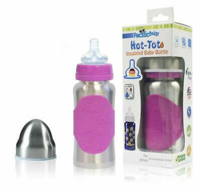 Hot-Tot Insulated Baby Bottle 7 oz Silver Pink