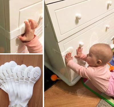100PCS Child Baby Safety Locks Box Drawer Cupboard Cabinet Wardrobe Door Fridge
