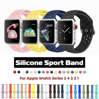 For Apple Watch Series 5 4 3 2 1 Silicone Sports Strap Band iWatch 38 40 42 44mm