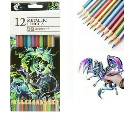 12 Metallic Artist Pencils For Drawing Sketching Shading Draw Tones Shades UK
