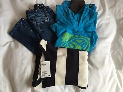Boys Super Soft Skinny Jeans Animal Hooded Top & BNWT H&M Navy Stripe Sweater