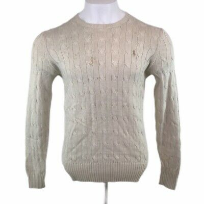 Polo Ralph Lauren Silk Cable Knit Jumper Cream Crew Neck Mens Small