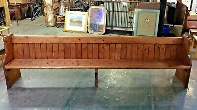 Vintage 10 Ft Church Pew / Traditional / Solid Pine / Bible Shelf / Long Bench