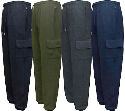 Mens Jogging Bottoms Fitness Fleece Warm Trousers Casual Zip and Side Pockets