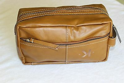 """Pottery Barn Beckett Leather Travel Toiletry Case Bag NWT Free Shipping MONO """"K"""
