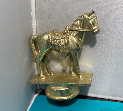 Vintage Heavy Brass Plated Horse Finial Trophy Topper Flat Over Round Base