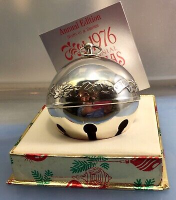 1976 Wallace Annual Silver Plate Sleigh Bell Ornament Sixth in The Series