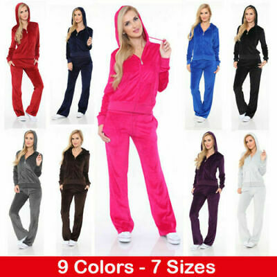 Women's Athletic Soft Velour Zip Up Hoodie & Sweat Pants Set Jogging Suit