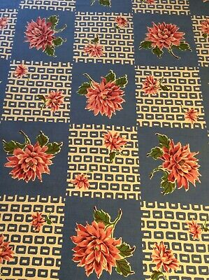 "Darling Vintage Tablecloth - Pink Floral - Blues - 48"" X 51"""