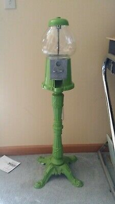 VINTAGE 70s 80s Retro Green PEDESTAL GUMBALL / CANDY MACHINE Made In USA