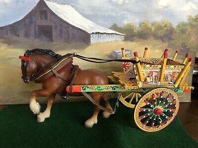 Breyer Of Clydesdale Cm Harness Wagon Cart Italy Vint Draft Model Horse 9025