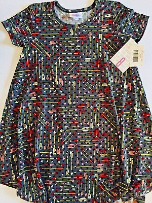 NWT LuLaRoe Kids' Size 8 SCARLETT Dress Valentine's GREY Hearts & Arrows UNICORN