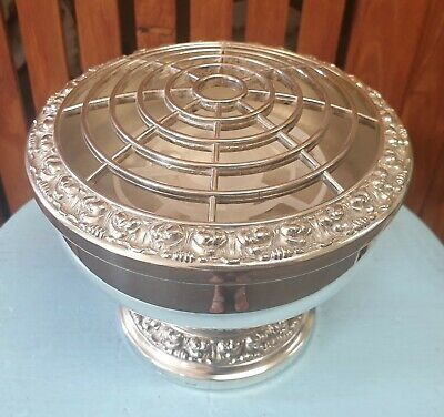 Vintage Large Ianthe Silver Plated Rose Flower Bowl Made In England