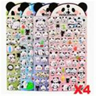 4 Sheets Panda Puffy DIY Decorative Adhesive Tape Craft Scrapbooking Stickers
