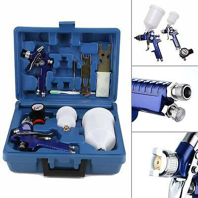 2x HVLP Air Spray Gun Kit 1.4/0.8mm Nozzle Paint Touch Up Gravity Feed Air Tool