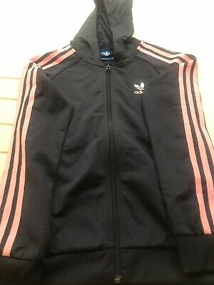 Girls Adidas Navy With Pink Stripe Tracksuit Top / Jacket Age 11-12Yr Vgc