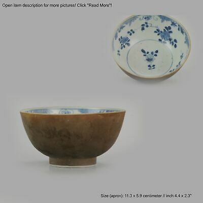 Antique Kangxi Period Batavian Blue and White Bowl with flower scene