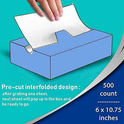 500 Pack Interfolded Food and Deli Wax Paper Dry Wrap Sheets with Dispenser Box