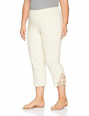 SLIM-SATION Women's Plus Size Crop Pant with Lace Hem & Surround Comfort, Sa 20W