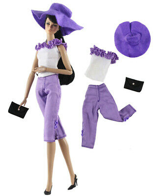 Christmas Costume 4in1 Set Fur Coat+top+pants+hat FOR 11.5in.Doll Clothes