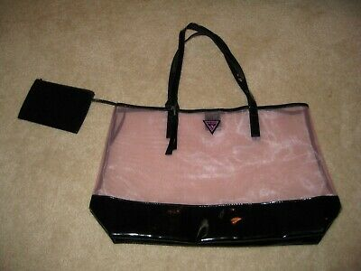 Black Large Tote Bag NEW GUESS GIRL Pink
