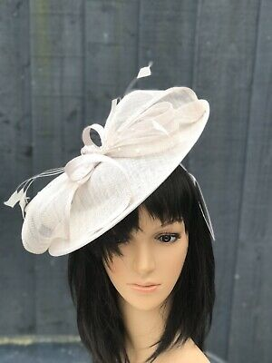 PETER BETTLEY PALE SILVER WEDDING  DISC FASCINATOR Mother Of The Bride Hat