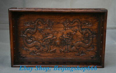 """13"""" Old Chinese dynasty Palace Huanghuali Wood Carving 2 Dragon Plate Tray Dish"""