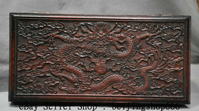 """11.2"""" Rare Old China Huanghuali Wood Dynasty Palace Dragon Jewelry Box Container"""