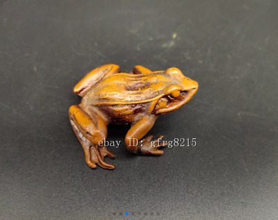"""2.24"""" Chinese antique pure copper handmade tea pet Frog statue"""