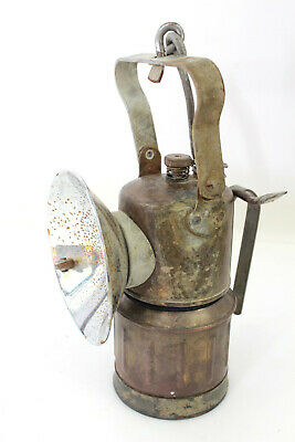 Antique Brass Justrite Carbide Miners Light Lantern With Handle & Hook