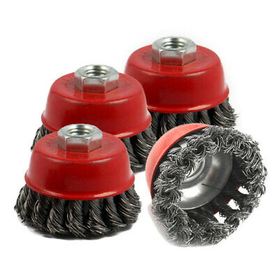 4pcs 75mm Red Steel Wire Brush Wheel Knot Cup Abrasive Rust Removal Tool Replace