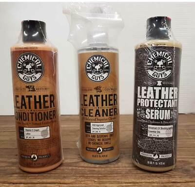 Chemical Guys Complete Leather Kit - Cleaner, Conditioner & Protectant 3 x 16oz