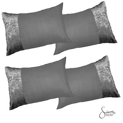 Sienna Crushed Velvet Band Pack of 4 x Pillowcases Cover, Luxury Silver Grey NEW