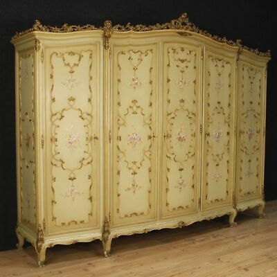 Closet Wardrobe 5 Panels Furniture Antique Style Venetian Wooden Painting Golden
