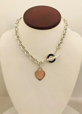 """Pre-Owned Tif & Co Sterling Silver Heart Charm Rolo Necklace 16"""" Toggle Clasp"""